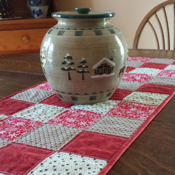 Quilted Winter/Holiday Table Runner, country theme, red, green, white country print fabric patterns