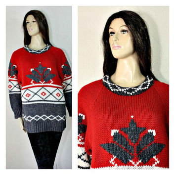 Vintage Knitted Pullover / Sweater / Mini Dress - Warm - Winter FASHION - 80's - Chanky Knit - Skates / Ski / Winter Sport - estate sale
