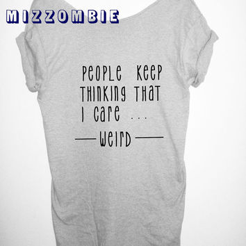 WEIRD Shirt, Off The Shoulder, Over sized,   loose fitting, graphic tee, screen printed by hand, women's, teens.