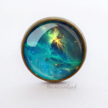 Blue Universe ring / stud earrings, galaxy jewelry, woman gift, glass cabochon jewellery by The Neverland