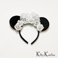 Bridal Minnie Mouse Ears Inspired Headband, LED Headband, Mouse Ears Headband, Minnie Ears, Disney Bound, Disney Headband, Disney Cosplay