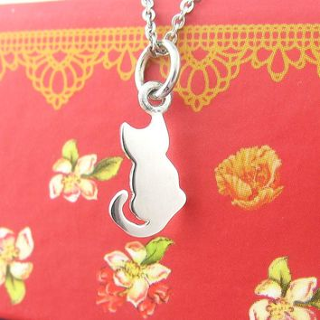 Tiny Watchful, Waiting Kitty Necklace With Curling Tail in Sterling Silver