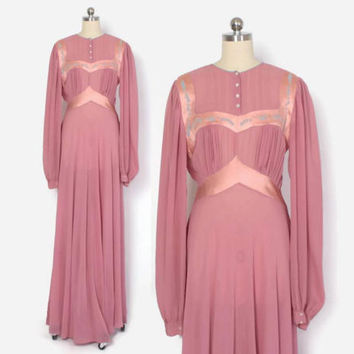 Vintage 40s SILK NIGHTGOWN / 1940s Sheer Mauve Crepe Silk Embroidered Long Sleeve Keyhole Back Gown M