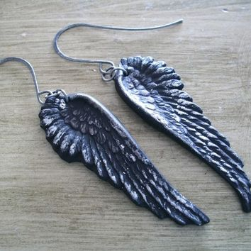 Black as Night raven wings crow earrings gothic jewelry