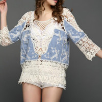 New summer sexy Women solid color crochet and denim Beach blouse-0531