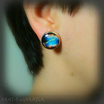 Sky clouds Post Earrings Spring summer trend, Free Shipping from MADEbyMADA