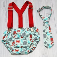 Nautical theme neck tie, Diaper cover and suspender set.  Birthday Cake Smash Set. Church, Wedding Tie. Choose size