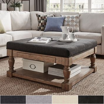 Lennon Baluster Pine Storage Tufted Cocktail Ottoman by iNSPIRE Q Artisan - [Beige Linen] - Button Tufts