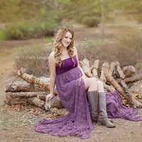 Gianna Maternity Gown in Plum -Standard Train