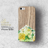 Yellow Antique floral wood pattern / not real wood, Unique Decoupage case, Samsung galaxy S4, iPhone 5/5S, iPhone 4/4S, iPhone 3Gs case.