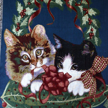 Tache 1 Piece 50 x 60 Kitty's First Christmas Tapestry Throw
