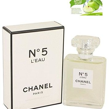 Chánêl No. 5 L'eáu Perfume Eau De Toilette Spray Perfume For Women Eau De Toilette 3.4 oz. Free! Whitening Apple Soap 100 g.