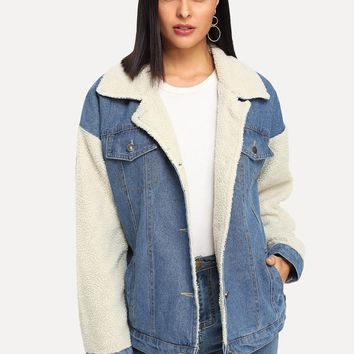 Faux Shearling Contrast Denim Jacket