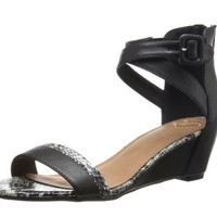 Madeline Matty Black Snake Wedge Sandal