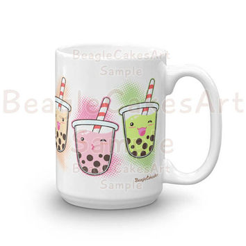 Bubble Tea Mug, Coffee Mug, Boba Tea Mug, Kawaii Art Mug, Birthday Gift, Thank You Gift, Kitchen Decor, Cute Mug, Drinkware, Gift for Her