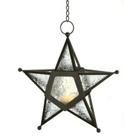 Clear Glass 5 Point Star Hanging Candle Lantern