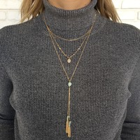 Fresh Mint Stone Layered Necklace in Gold
