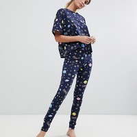 ASOS DESIGN outer space legging and tee pyjama set at asos.com