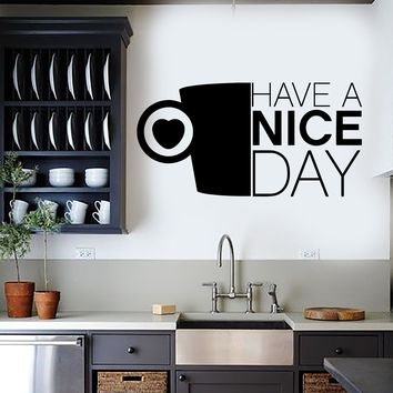 Vinyl Wall Decal Kitchen Positive Quote Coffee Cup Stickers Unique Gift (ig3936)