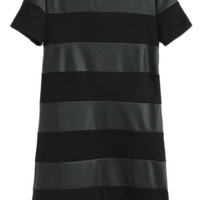 ROMWE Dual-tone Striped PU Panel Black Dress