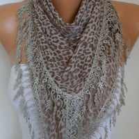 Brown Leopard Print Scarf  Animal Scarf Cowl Scarf Gift Ideas For Her Women's Fashion Accessories