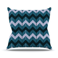 "Nick Atkinson ""Chevron Dance Blue"" Outdoor Throw Pillow"