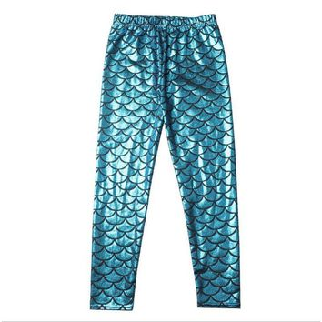 Turquoise Fish Scale Girls Kids Mermaid Pants