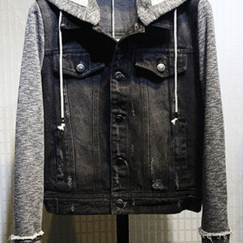 Black Denim Paneled Hooded Jacket