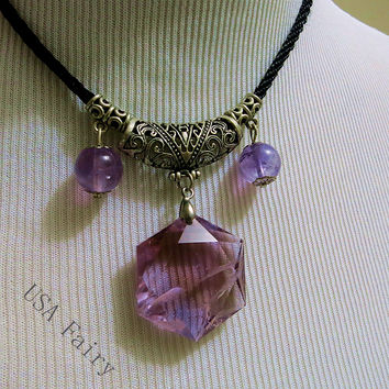 Rare natural ametrine necklace octagonal shape david star ametrine necklace