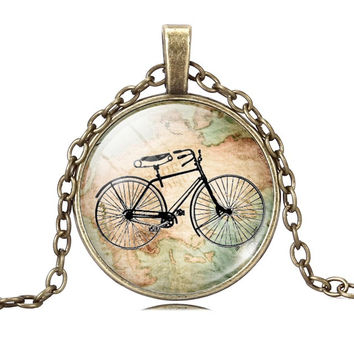 Vintage looking Bicycle & Map Glass Cabochon Necklace, Gold or Silver.