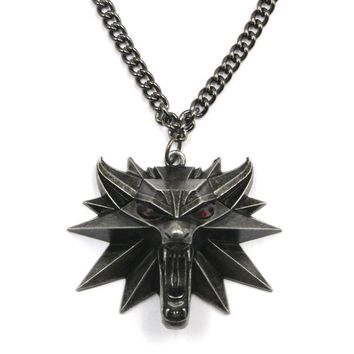 Vintage Wolf Head Necklace The witcher Pendant The Witcher 3 Wild Hunt Figure Game Wizard Witcher 3 Medallion Pendant Necklace
