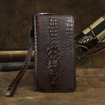 retro handmade genuine leather long wallet crocodile card hold purse 02 2