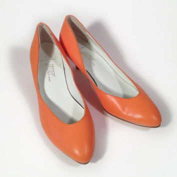 Tangerine Orange Leather Pumps by Joy size 8 1/2 by ModernFiction