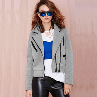 Grey Zipper Sleeve Lapel Jacket