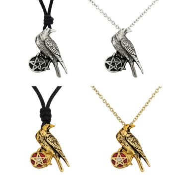 Raven and Pentagram Handmade Brass Necklace Pendant Jewelry With Cotton Cord