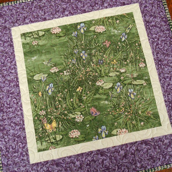 Quilted Square Table Topper with Butterflies Dragonflies and Flowers - Green and Purple - Quilted Table Mat - Square Table Quilt