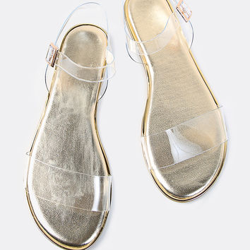 Double Clear Strap Metallic Sandals GOLD | MakeMeChic.COM