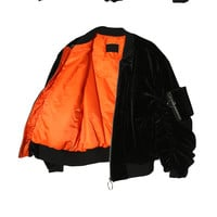Soft Ring Zipper Bomber Jacket