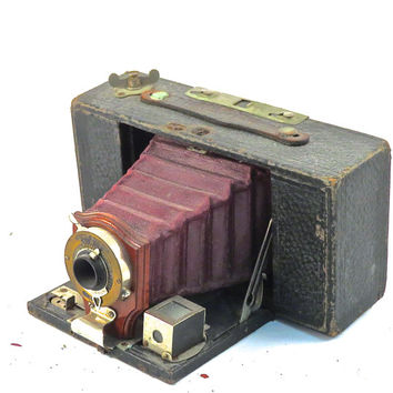 Vintage Kodak No. 2 Brownie Model A Folding Camera with RED BELLOWS