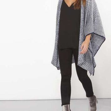 Petite Navy Blanket Poncho - Wraps - Accessories