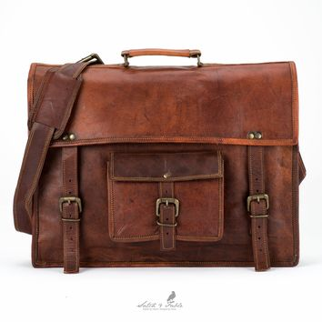 0123a027a7fe Handmade moroccan goat Leather Briefcase Laptop Satchel Bag