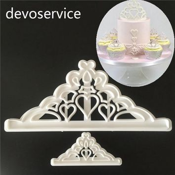 2Pcs Kawaii Crown Plastic Cookies Biscuit Cutters Fondant Cutter Mold Moulds DIY 3D Sugarcraft Cake Decorating Tools