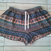 Boho Aztec Ethnic Ikat Pattern Unique Printed Beach Summer Shorts Tribal Clothing Bohemian Comfy Cotton Rayon Cute Women Clothes tone Blue