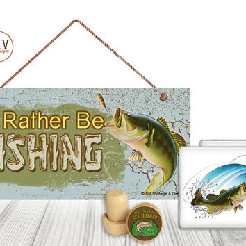 "Gift Set, 4 PC, I'd Rather Be Fishing, Fish 5"" x 10"" Wood Sign, Two Drink Coasters, One Decorative Wine Stopper, Gift Package, Made To Order"