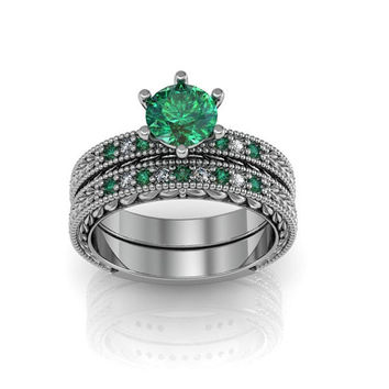 Art Deco Antique Style  Created Emerald Milgrain  Silver Wedding Engagement and Anniversary Ring Set