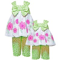 Rare Editions Baby/NEWBORN 2-Piece HONEYDEW-GREEN BOW FRONT FLORAL EMBROIDERED Special Occasion Party Capri Dress Outfit/Set