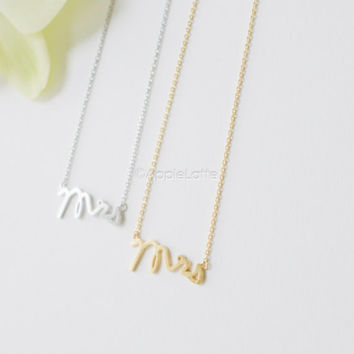 Mrs necklace,Mrs jewelry,Wedding gift,Bridal Shower Gift