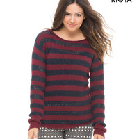 Aeropostale  Womens Striped Scoop-Back Sweater