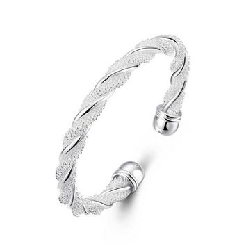 STYLEDOME Simple Women Silver Plated Open Cuff Bracelets Vintage Twisted Knot Charm Bracelets&Bangles Female Fashion Bangle Jewelry