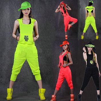 Hip Hop Dance Costume performance wear women romper European playsuit loose overalls harem jazz  jumpsuit one piece Pants